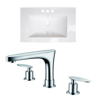 30-in. W x 18-in. D Ceramic Top Set In White Color With 8-in. o.c. CUPC Faucet