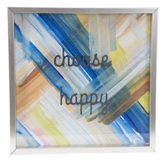 Choose Happy 12-inch x 12-inch Metallic Shadow Box
