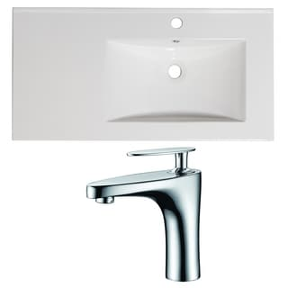 36-in. W x 18.5-in. D Ceramic Top Set In White Color With Single Hole CUPC Faucet