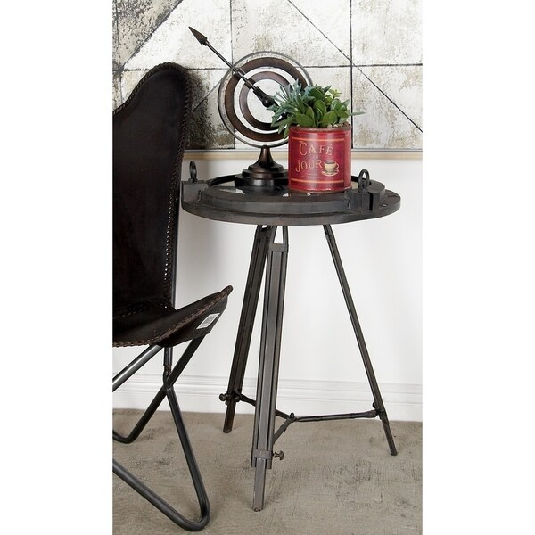 Industrial 24 Inch Iron and Glass Compass Clock Table by Studio 350