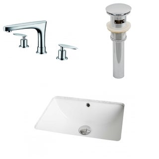 18.25-in. W x 13.75-in. D CUPC Rectangle Undermount Sink Set In White With 8-in. o.c. CUPC Faucet And Drain