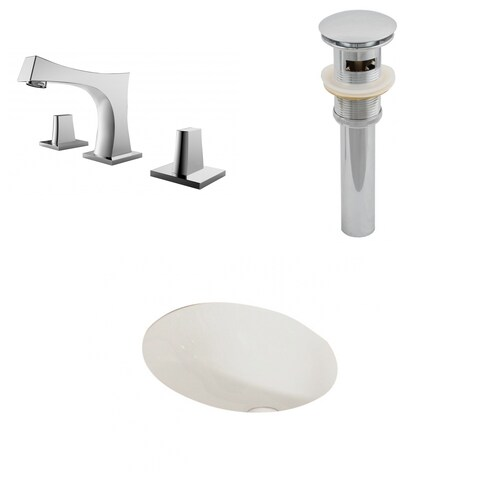 19.25-in. W x 16-in. D CUPC Oval Undermount Sink Set In Biscuit With 8-in. o.c. CUPC Faucet And Drain