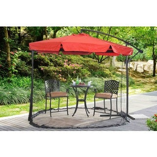 Sunjoy Offset Red Steel/Fabric Netted Umbrella