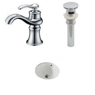 15.5-in. W x 15.5-in. D CUPC Round Undermount Sink Set In Biscuit With Single Hole CUPC Faucet And Drain