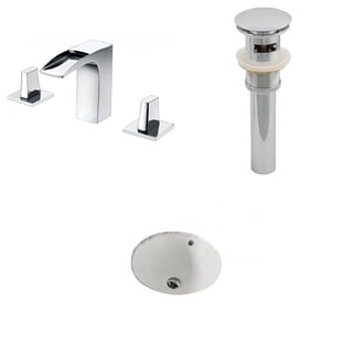 15.5-in. W x 15.5-in. D CUPC Round Undermount Sink Set In Biscuit With 8-in. o.c. CUPC Faucet And Drain