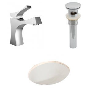 19.75-in. W x 15.75-in. D CUPC Oval Undermount Sink Set In Biscuit With Single Hole CUPC Faucet And Drain