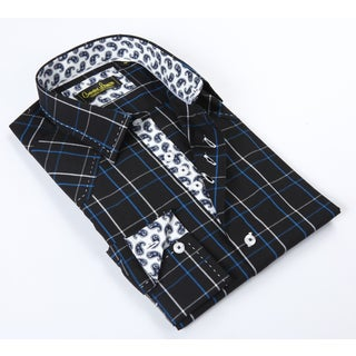 Banana Lemon Classic Black/ Blue Plaid Button-up Dress Shirt