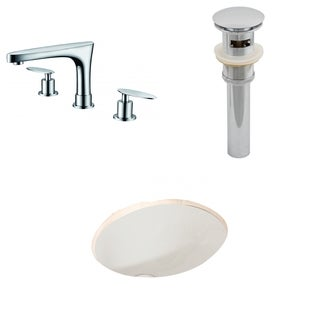 19.75-in. W x 15.75-in. D CUPC Oval Undermount Sink Set In Biscuit With 8-in. o.c. CUPC Faucet And Drain