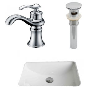 20.75-in. W x 14.35-in. D CUPC Rectangle Undermount Sink Set In White With Single Hole CUPC Faucet And Drain