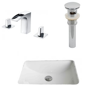 20.75-in. W x 14.35-in. D CUPC Rectangle Undermount Sink Set In White With 8-in. o.c. CUPC Faucet And Drain