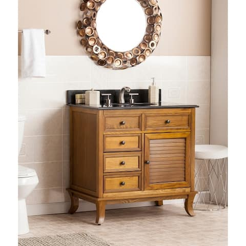 Washington Weathered Oak w/ Black Granite Top Bath Vanity Sink