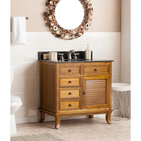 Harper Blvd Washington Weathered Oak w/ Black Granite Top Bath Vanity Sink