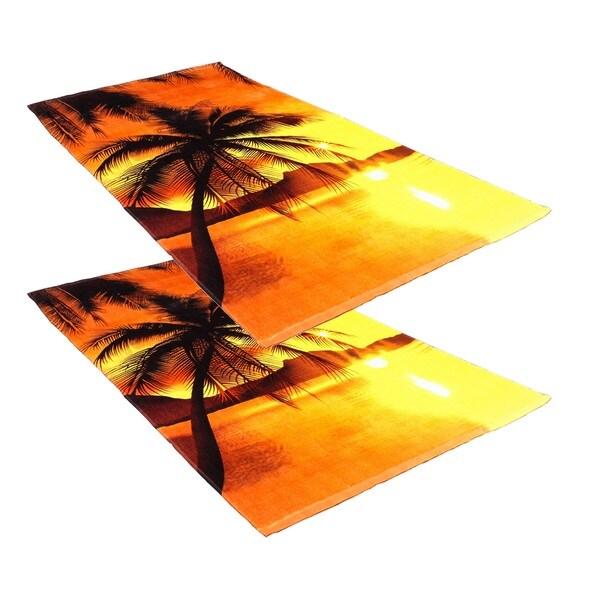 "J & M Home Fashions Sunset Palm Trees 30""""x60"""" Fiber Reactive Beach Towel (set of 2)"