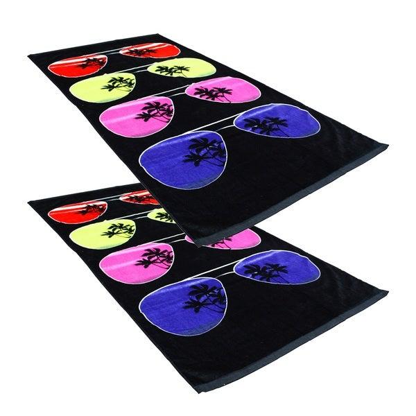 "J & M Home Fashions Sunglasses 30""""x60"""" Fiber Reactive Beach Towels (set of 2)"