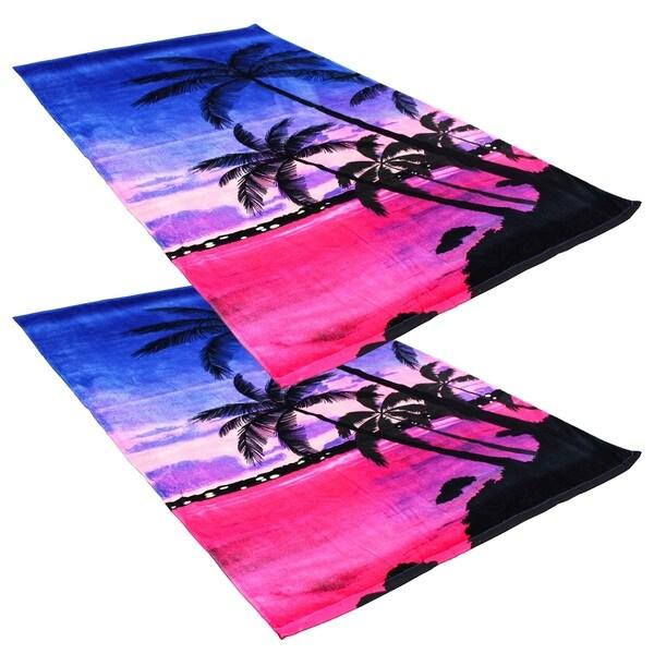"J & M Home Fashions Tropical Palm Trees 40""""x70"""" Fiber Reactive Beach Towels (set of 2)"