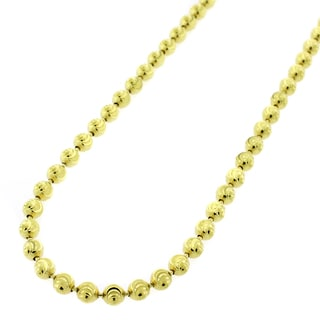 10k Gold 4mm Moon-cut Bead Chain Necklace