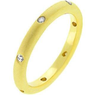 Kate Bissett 18k Matte Gold-plated Cubic Zirconia Wedding Band