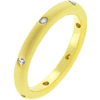 Kate Bissett Matte Gold-Plated Cubic Zirconia Wedding Band