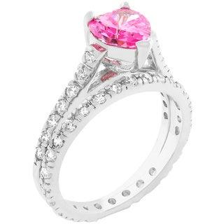 Kate Bissett White Brass Cubic Zirconia Pink Heart Ring Set