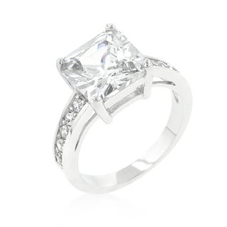 Kate Bissett Silver Brass Cubic Zirconia Princess Cut Engagement Ring