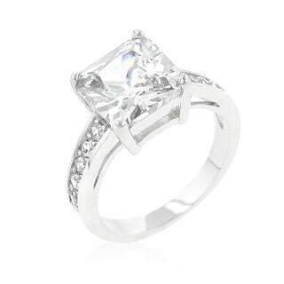 Kate Bissett Silver Brass Cubic Zirconia Princess Cut Engagement Ring