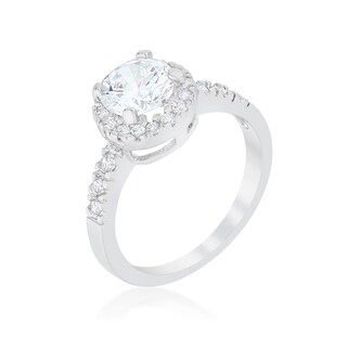 Kate Bissett Pave Halo Solitaire White Brass Cubic Zirconia Engagement Ring