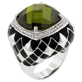 Kate Bissett Olive Jester White Brass Cubic Zirconia Cocktail Ring
