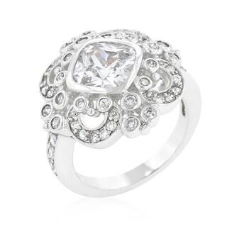 Kate Bissett White Brass Clear Cubic Zirconia Elegant Crest Ring
