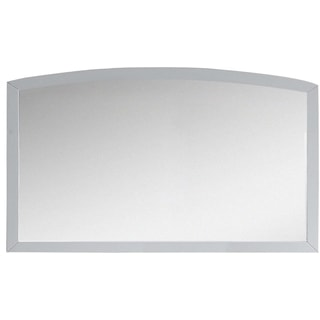 47.24-in. W x 25.6-in. H Modern Birch Wood-Veneer Wood Mirror In White