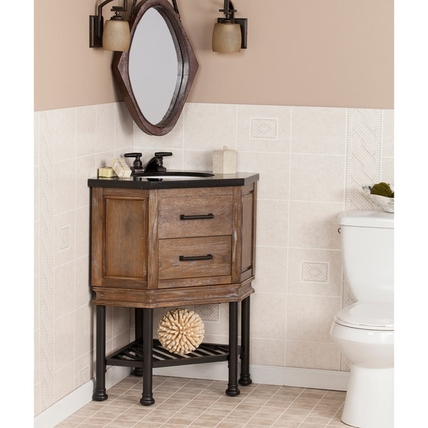 Shop harper blvd ballard granite top corner bath vanity - Corner bathroom vanities for sale ...