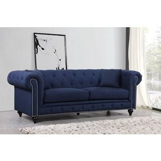 Meridian Chesterfield Navy Linen Sofa