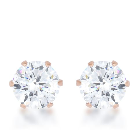 Kate Bissett Reign 3.4-carat Cubic Zirconia Rose Gold Stainless Steel Stud Earrings - Pink