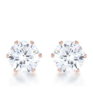 Kate Bissett Reign 3.4-carat Cubic Zirconia Rose Gold Stainless Steel Stud Earrings