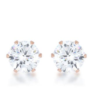 Kate Bissett Reign 3.4-carat Cubic Zirconia Rose Gold Stainless Steel Stud Earrings|https://ak1.ostkcdn.com/images/products/12051874/P18922414.jpg?impolicy=medium