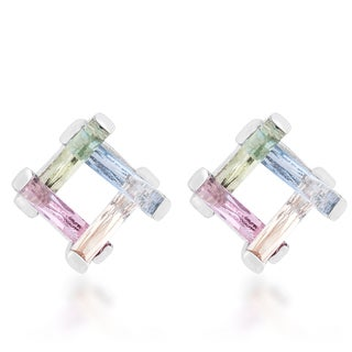 Kate Bissett Myra Rhodium 10-carat Multicolor Cubic Zirconia Stud Earrings