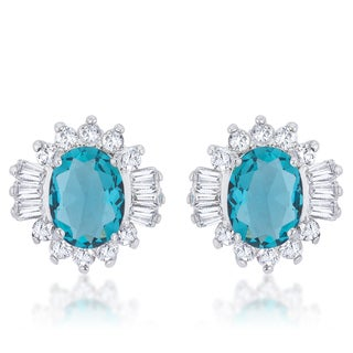 Kate Bissett Chrisalee Rhodium 3.3k Aqua Cubic Zirconia Classic Stud Earrings