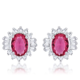 Kate Bissett Chrisalee White Rhodium Brass 3.3-carat Ruby Cubic Zirconia Classic Stud Earrings