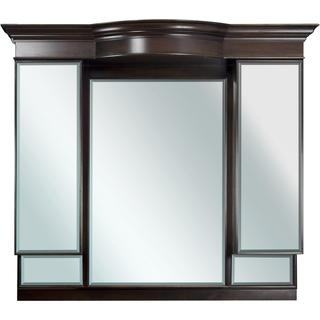47-in. W x 46-in. H Traditional Birch Wood-Veneer Wood Mirror In Walnut