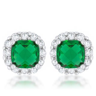 Kate Bissett Liz Rhodium Brass 2 ct Emerald Cubic Zirconia Classic Cushion Stud Earrings