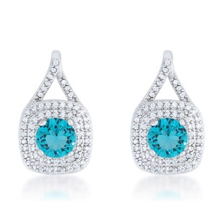 Kate Bissett Christal Rhodium Brass 2.3-carat Aqua Cubic Zirconia Classic Drop Earrings