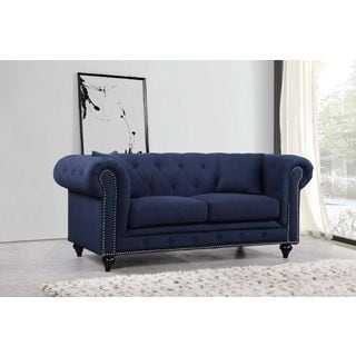 Meridian Chesterfield Navy Linen Loveseat