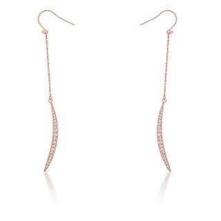 Kate Bissett Luna 0.5-carat Rose Gold Cubic Zirconia Delicate Moon Drop Earrings