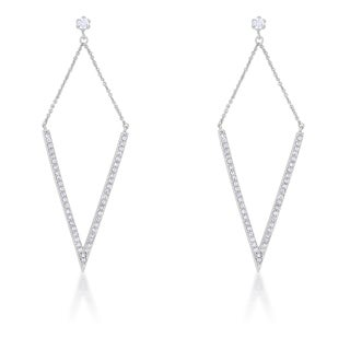 Kate Bissett Michelle 1.2-carat Cubic Zirconia Rhodium Pointed Drop Earrings