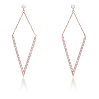 Kate Bissett Michelle 1.2 Carat CZ Rose Gold Delicate Pointed Drop Earrings