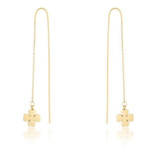 Kate Bissett Patricia Gold Stainless Steel Clover Threaded Drop Earrings