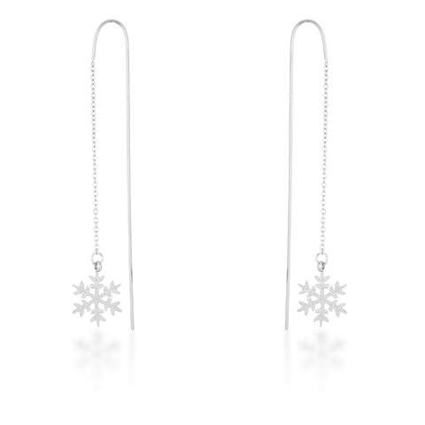 Kate Bissett Noelle Rhodium Plated Stainless Steel Snowflake Threaded Drop Earrings - White