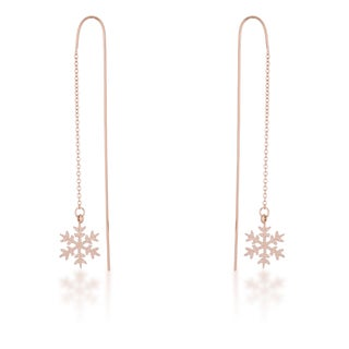 Kate Bissett Noelle Rose Gold Stainless Steel Snowflake Threaded Drop Earrings
