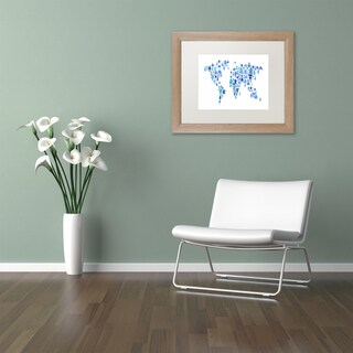 Michael Tompsett 'Robot Map of the World Blue' Matted Framed Art
