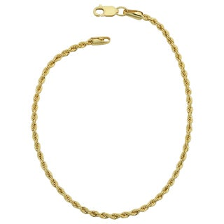 Fremada 14k Yellow Gold Filled Unisex 2.10-mm Rope Chain Bracelet (7.5 or 8.5 inches)