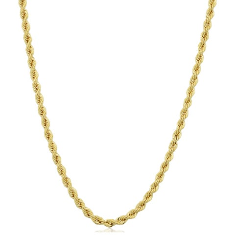 Fremada Yellow Gold Filled Unisex 2.10-mm Rope Chain Necklace (16 - 36 inches)